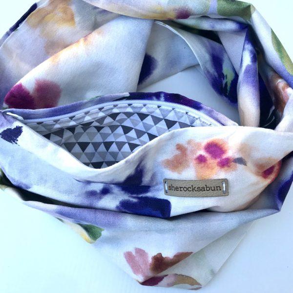 Watercolor florals pocket scarf by sherocksabun