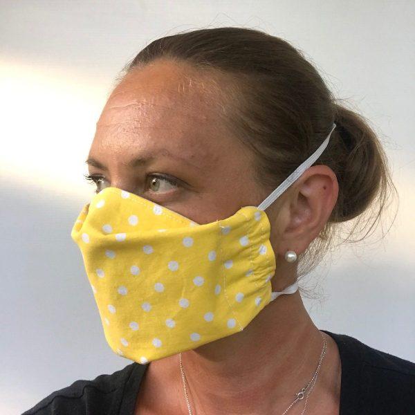 kankainen kasvomaski keltainen, fabric mask yellow, ansiktsskydd gul
