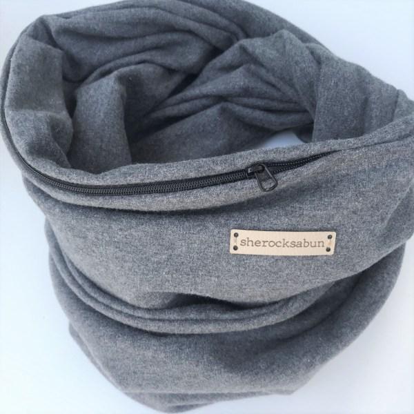 Dark grey melange organic cotton pocket scarf by sherocksabun