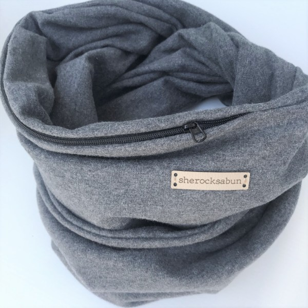 Dark grey melange organic cotton pocket scarf by sherocksabun