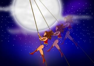 Super Heroine with lightning bolt