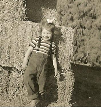 Gwen and a haystack