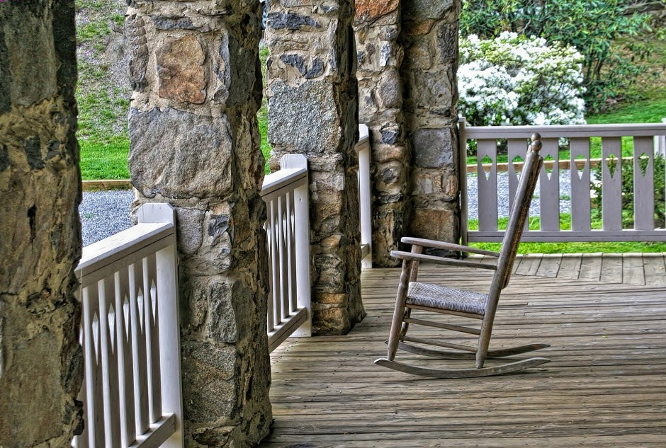 peaceful, porch, rocker, nature, stillness