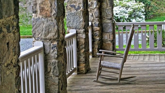 peaceful, porch, rocker, nature, stillness