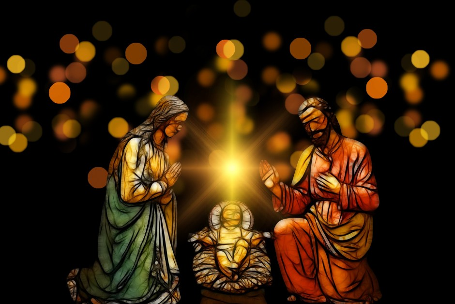 Christ Child, Mary, Joseph, nativity, manger