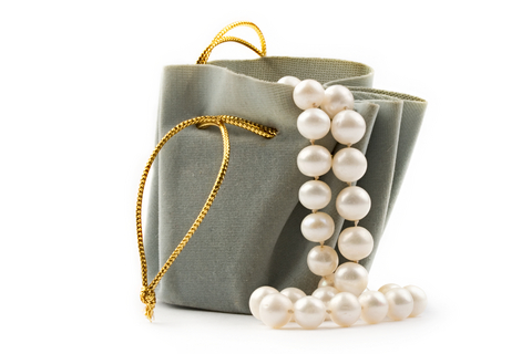 PEARLS AND VELEVET BAG