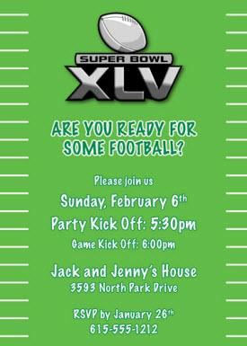 super bowl xlv party invitation wording