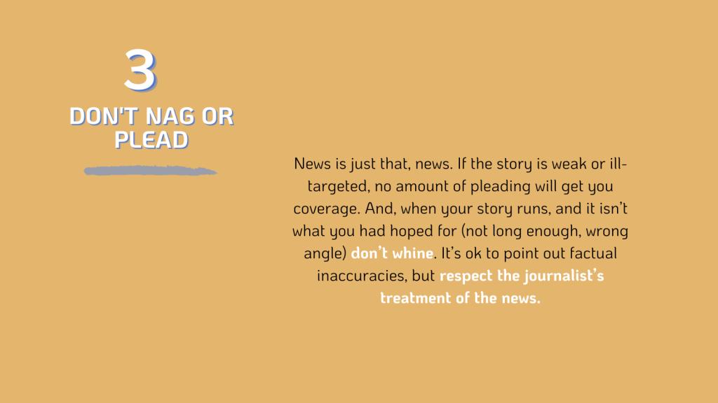 PR: don't nag journalists