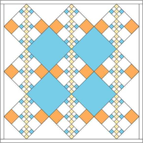 chain quilt with colored setting squares