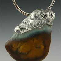 """Moorea"" hand formed recycled fine silver and recycled glass necklace"