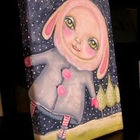 "Art: ""Snow Bunny"" painting on gallery wrapped canvas"