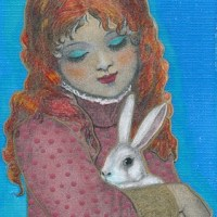 "Art: ""Redheaded Girl and White Rabbit"" NFAC Nibblefest"