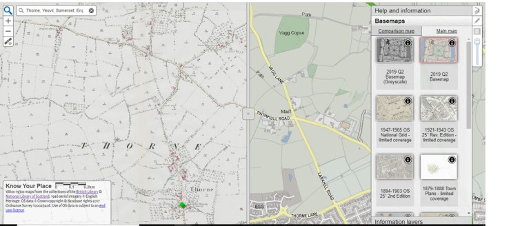 Know Your Place-a resource review_Shersca Genealogy_Map view of Thorne, Yeovil, Somerset_basic view