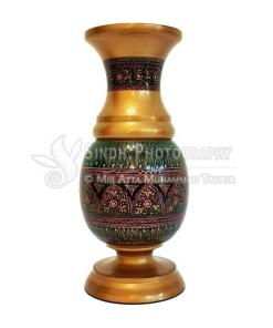 Sindhi hand-painted and glazed wooden flower vase