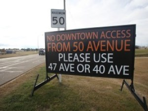 Sherwood Park Road Construction Signs