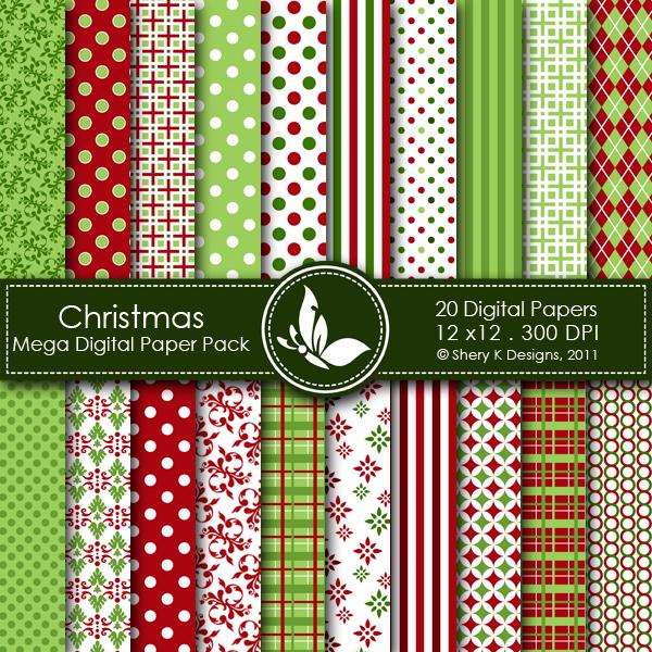 Christmas 1 Digital Paper Pack Shery K Designs