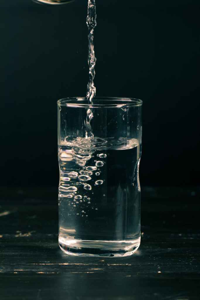 clear liquid in drinking glass