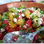 Watermelon, Cucumber Salad with Feta Cheese