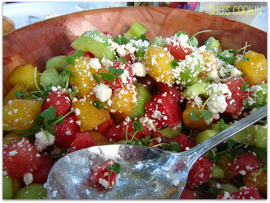 Watermelon and Cucumber Salad with Feta Cheese