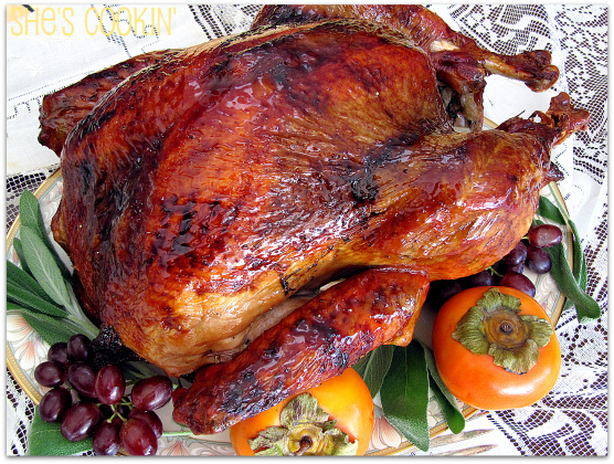 Brined Turkey with Brown Rice Syrup Glaze - ShesCookin.com