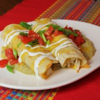 Enchiladas with Hatch Chile Sauce