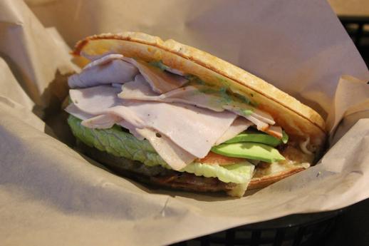 Bruxie Turkey Club waffle sandwich