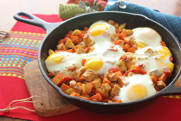 Sweet Potato, Pork & Apple Skillet Hash