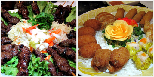 Capital Seafood Filet Mignon Skewers and Dim Sum Platter