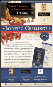 Savannah Chophouse, French 75, Brasserie Pascal, Lobster Challenge