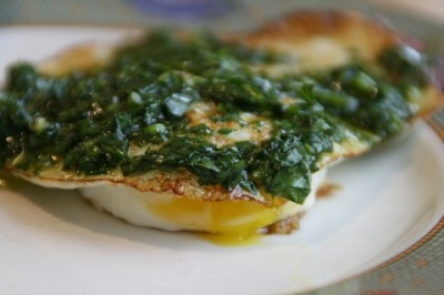 fried egg with cilantro pesto