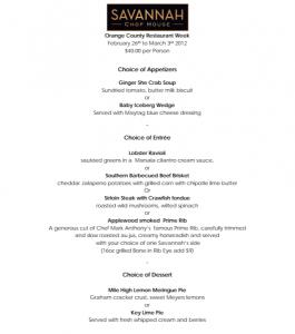 Savannah Chophouse menu, Orange County Restaurant Week