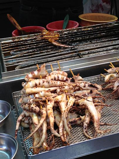 Hong Kong street food, grilled octopus