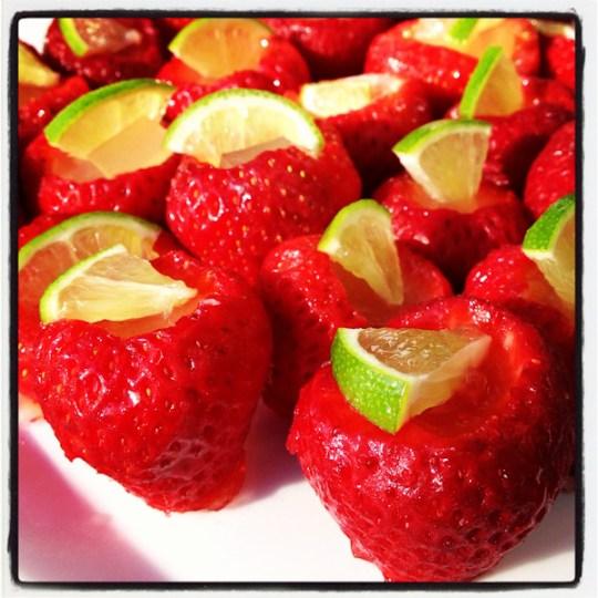 Strawberry margarita jello shots, ShesCookin.com