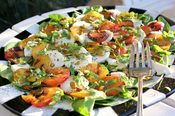 Grilled Pluots with Mozzarella and Pear Vinaigrette | ShesCookin.com