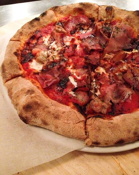 Pitfire Pizza, Huntington Fennel Sausage and Zoe's Bacon, Salami and Prosciutto