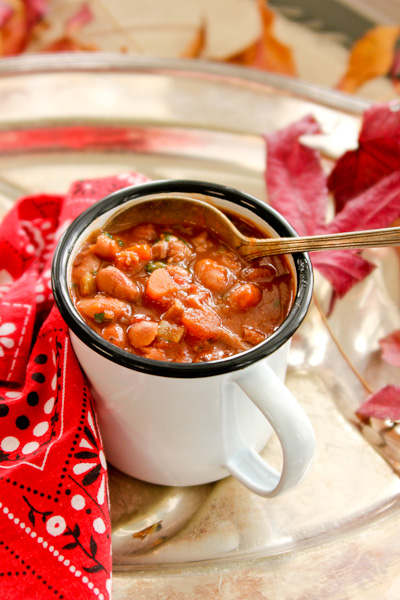 slow cooker pork and beans, slow cooker ham and beans, pork and bean stew