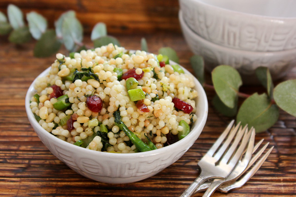 Pearl Couscous Salad with Greens, Cranberries and Pine Nuts