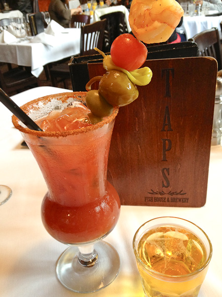 TAPS Bloody Mary with Beer Chaser, TAPS award winning beer, TAPS Fish House and Brewery