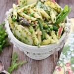 Penne Pasta with Arugula Pesto, Asparagus and Peas
