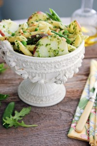 Penne Pasta with Potato, Arugula Pesto and Spring Vegetable