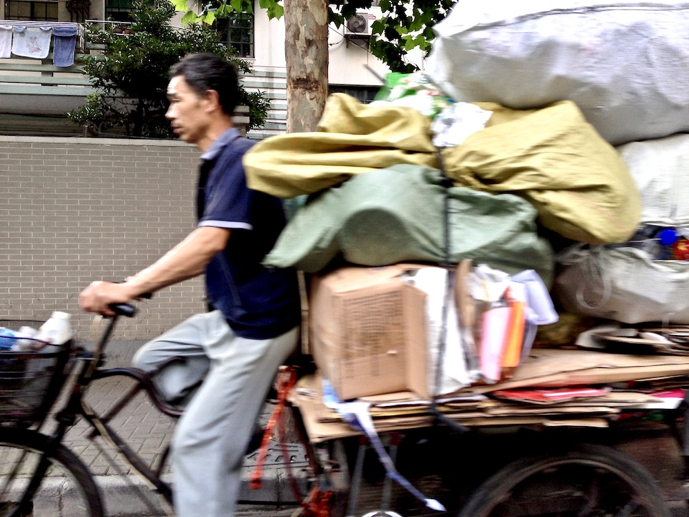 Man on a bicycle in Shanghai