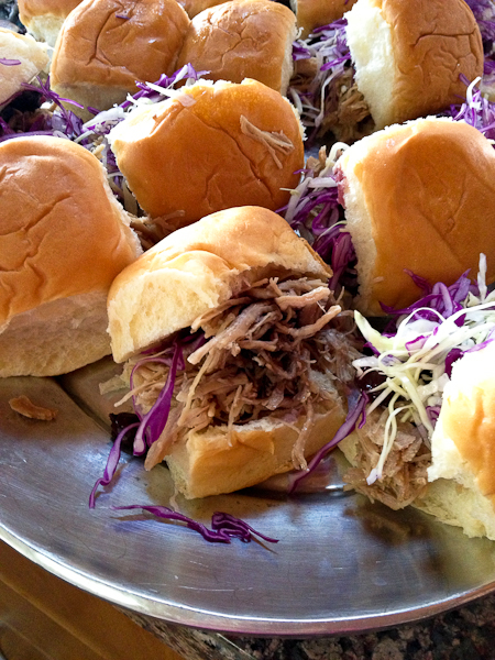 Pulled Turkey Sliders with blueberry chutney
