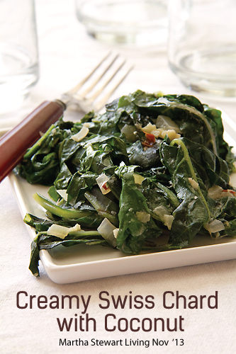 Creamy Swiss Chard with Coconut, Thanksgiving