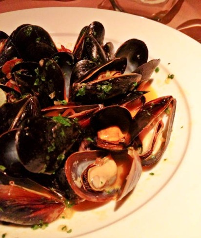 Steamed Mussels in white wine broth with Spanish chorizo
