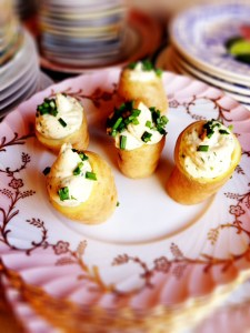 Fingerling Potatoes with Salmon Mousse