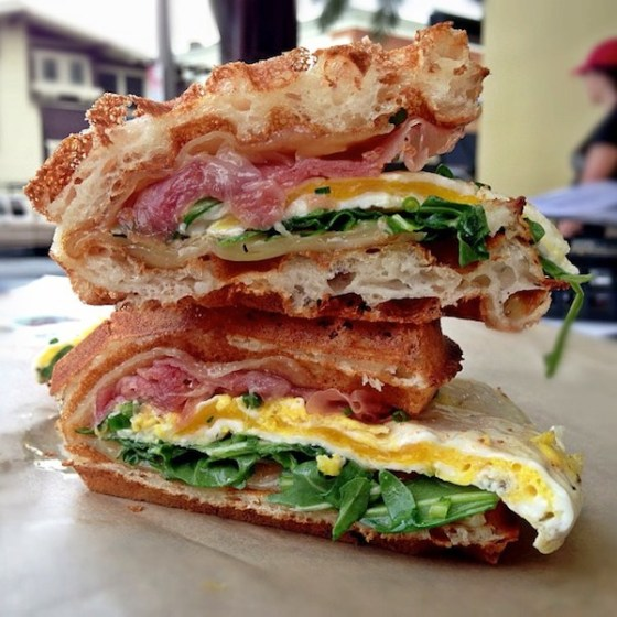 Bruxie - Prosciutto & Gruyere Bruxie with fried egg and arugula