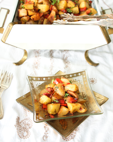 Spicy Middle Eastern Roasted Potatoes,  {Batata Harra}, Harissa Roasted Potatoes