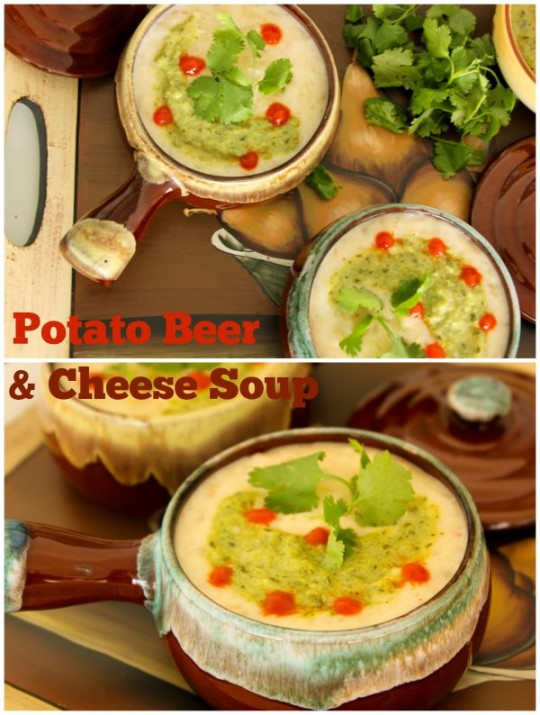 Potato Beer & Cheese Soup with Poblano Crema | ShesCookin.com