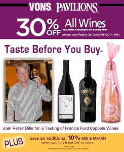 Von's Taste Before You Buy wine promotion