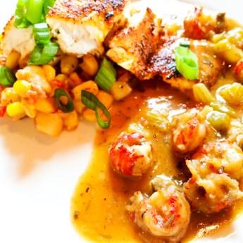 Blackened Redfish, Crawfish Etoufee, Tasso Hash